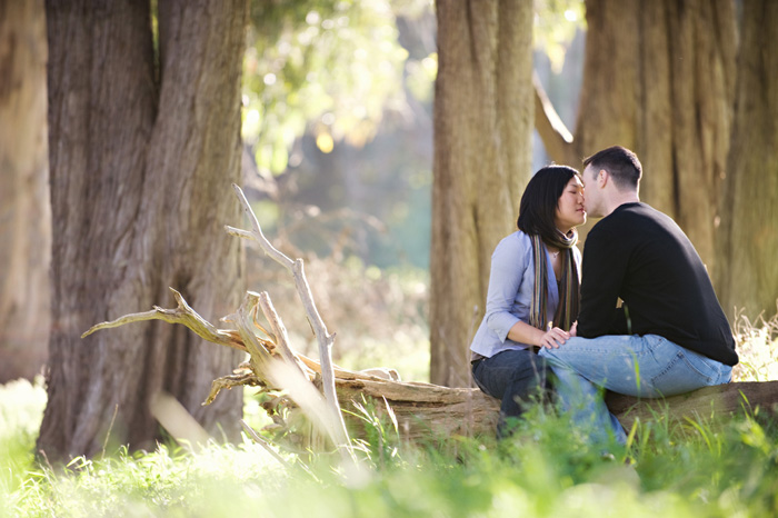 engagement photos of a couple at cavallo point in marin