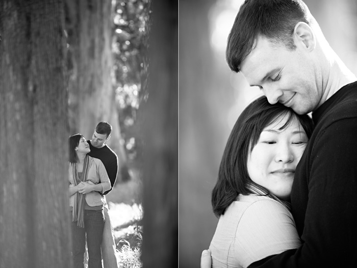 sweet love at engagement session in the woods at cavallo point