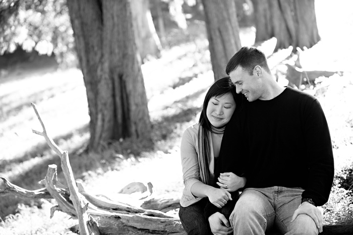 engagement photos of couple at eco conscious luxury lodge at cavallo point