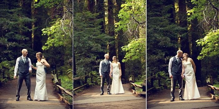bride and groom dancing in muir woods