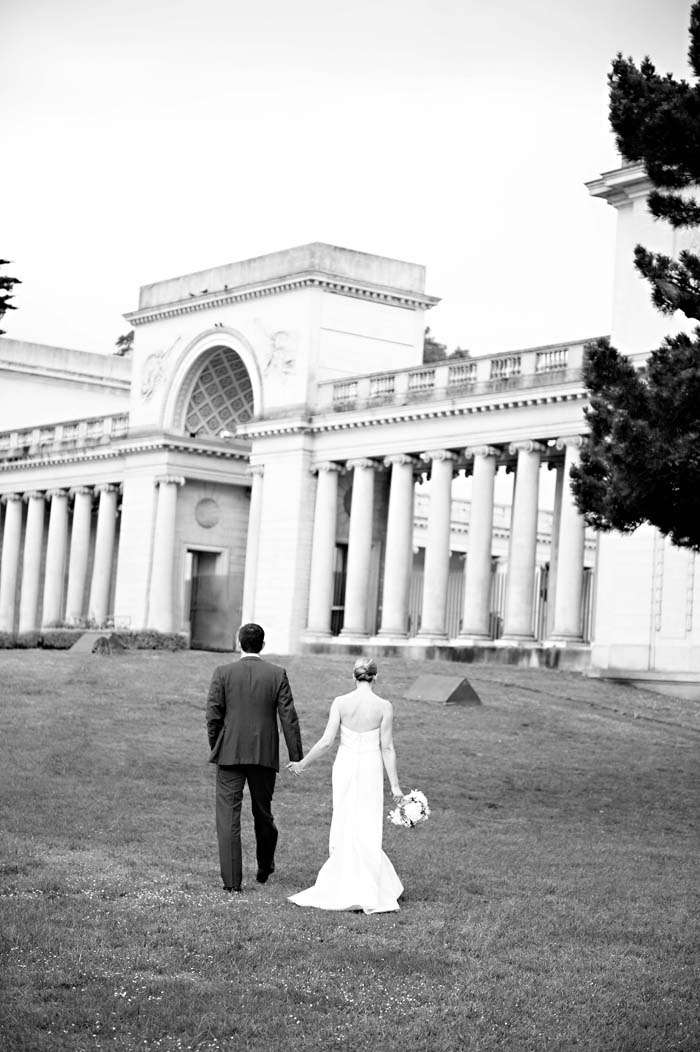 bride and groom holding hands legion of honor