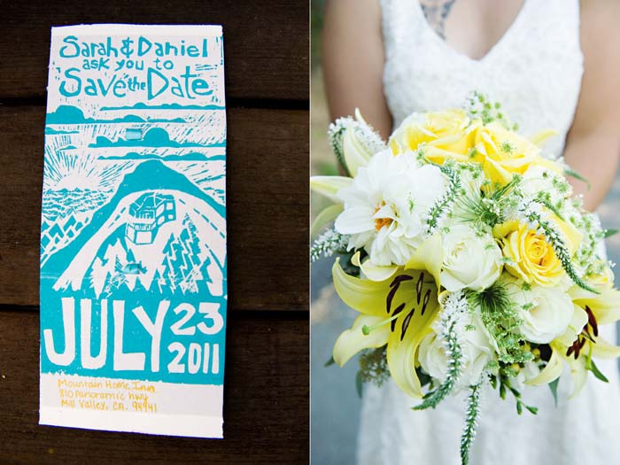 woodblock inviation and yellow bouquet