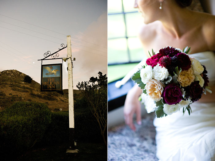 bride looking out window at muir beach in marin
