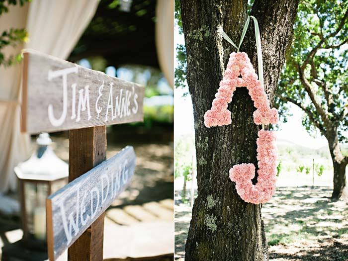 flower monogram and rustic signs